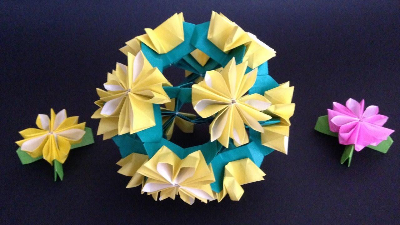 Origami Kusudama Dandelion Flower 12units Instructions 折り紙 の くす玉