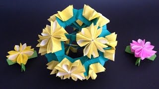 This video shows an instrucion on how to fold an origami Kusudama D...