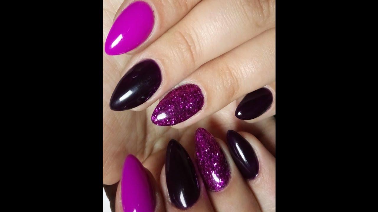 Glitter Nails Cyclamen Plum Shade Rozowy Brokat Manicure