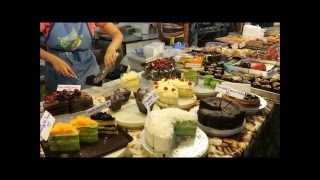 Thai street food CAKES and PASTRY RECIPE Made in Thailand Phuket market Asia trip travel shopping