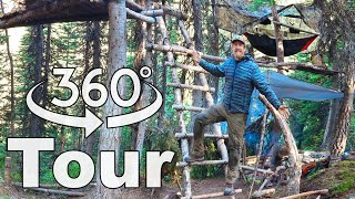 360 Bear Safe Tree Fort Tour / 30 Day Survival Challenge Canadian Rockies