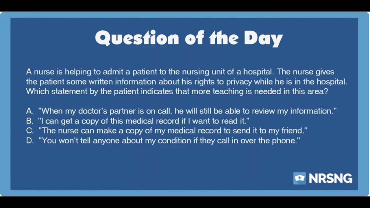 NCLEX Practice Questions: Privacy and Confidentiality ...
