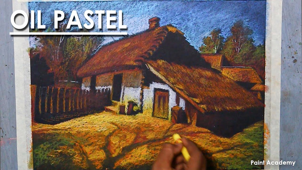 Oil Pastel Drawing : A Beautiful Village House