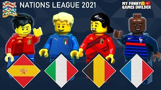 Nations League 2021 France Spain Italy Belgium All Goals Extended Highlights in Lego Football