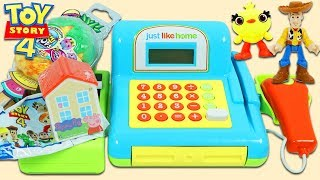 Disney Pixar Toy Story 4 Friends Go Shopping for Surprise Toys with Pretend Cash Register Playset!