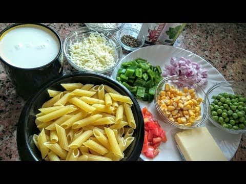 Pasta in white sauce-Cheesy White Pasta-White sauce pasta-Italian Recipes With Indian Style