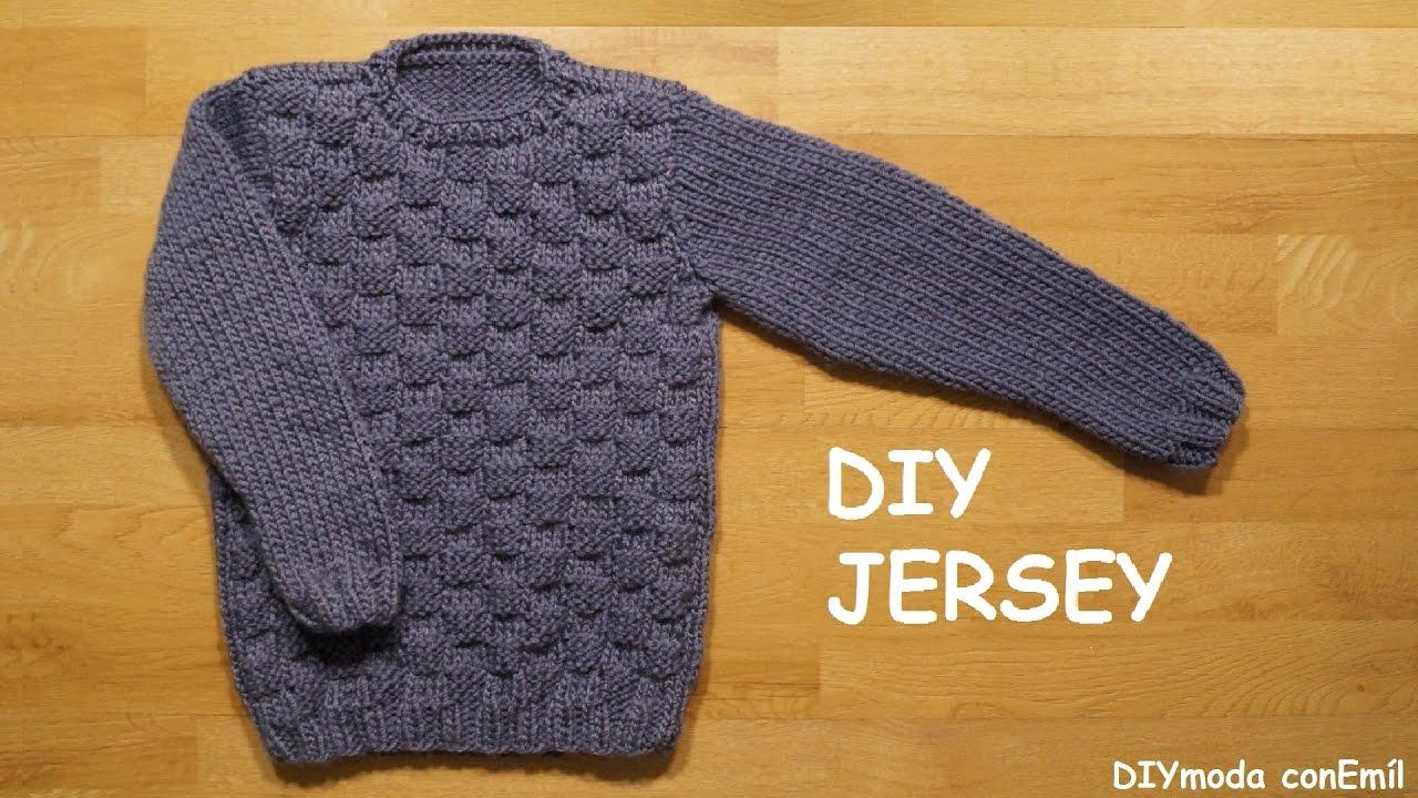 Jersey o suéter para niño de 8 a 10 años tejido a dos agujas paso a ...