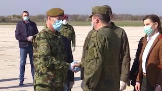 Кадры прибытия российских военных специалистов в Сербию для помощи в борьбе с коронавирусом