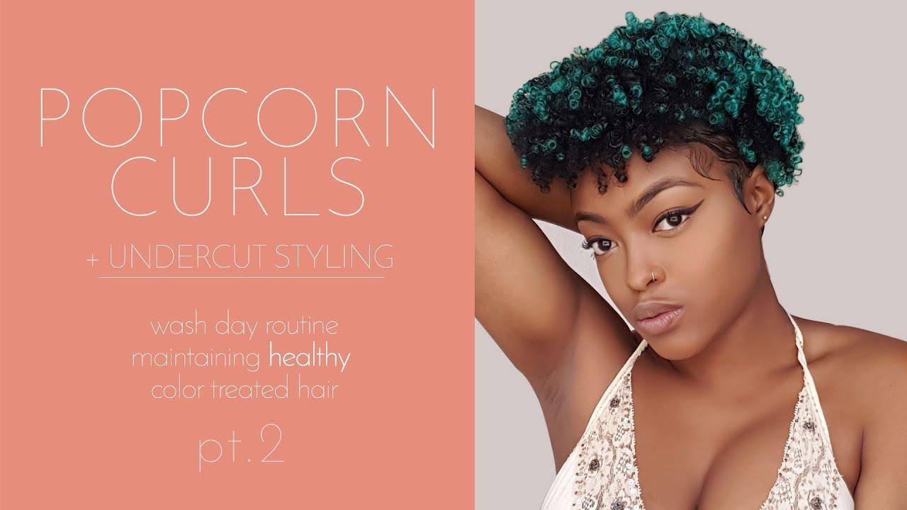 Natural Hair Styling My Undercut Popcorn Curls Youtube
