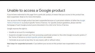 How To Fix Unable to access a Google products | Fix suspended youtube channel