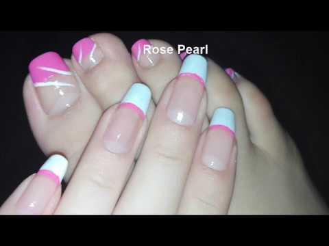 Girly Pink French Pedicurediy Toe Nail Art Tutorial  Rose Pearl