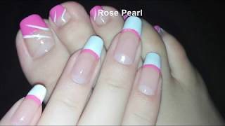 Girly Pink French Pedicure-DIY Toe Nail Art Tutorial | Rose Pearl