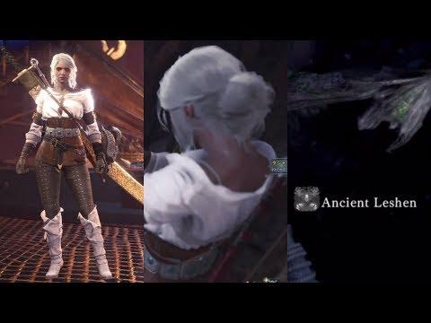 Monster Hunter World Ciri Vs Ancient Leshen Contract: Woodland Spirit Kjarr Sword Fire 321 Heals thumbnail