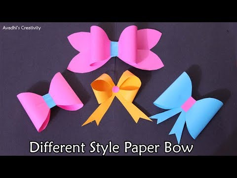 How to make Different style bow/ribbon from paper | DIY Origami Bow |
