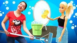 Веселая Школа— Видео для малышей сигрушками— Генеральная уборка вдоме Барби