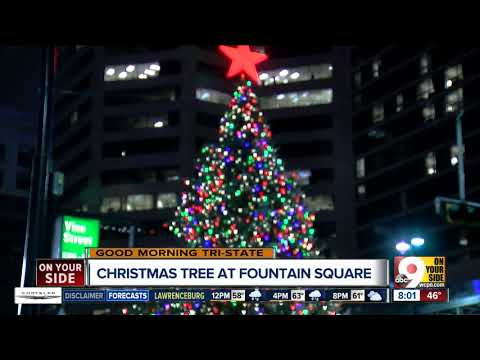 Christmas tree arrives at Fountain Square in downtown Cincinnati
