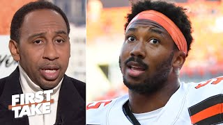 Stephen a. smith reacts to cleveland browns de myles garrett's fight vs. steelers qb mason randolph and says garrett has the potential recover from this i...