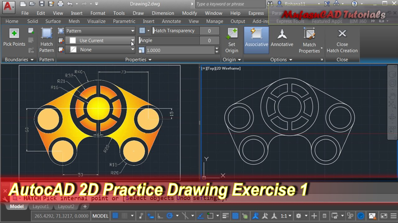 Autocad 2d practice drawing exercise 1 basic tutorial for 2d blueprint maker
