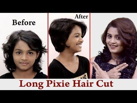 Long pixie hair cut ( How to do Kids hair cut at home) tutorial in Hindi