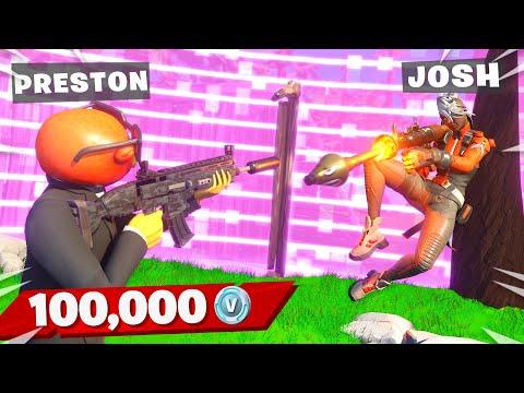 EXTREME 100k VBucks Gun Game with My Little Brother! (Fortnite)