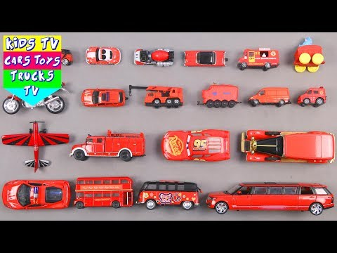 Learn Red Color For Kids Children Babies Toddlers With Motorcycle Bus Van Car | Kids TV | Preschool