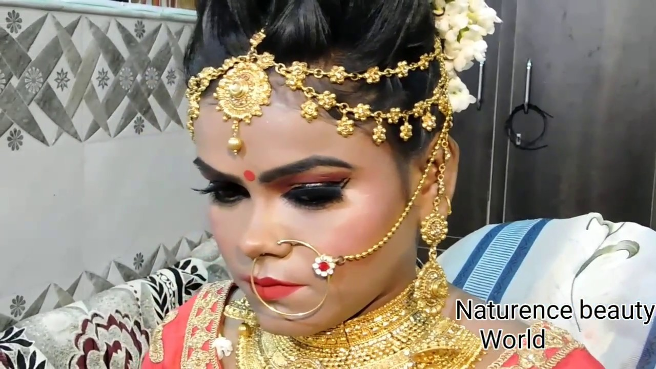 bridal puff hairstyle with gajre - youtube