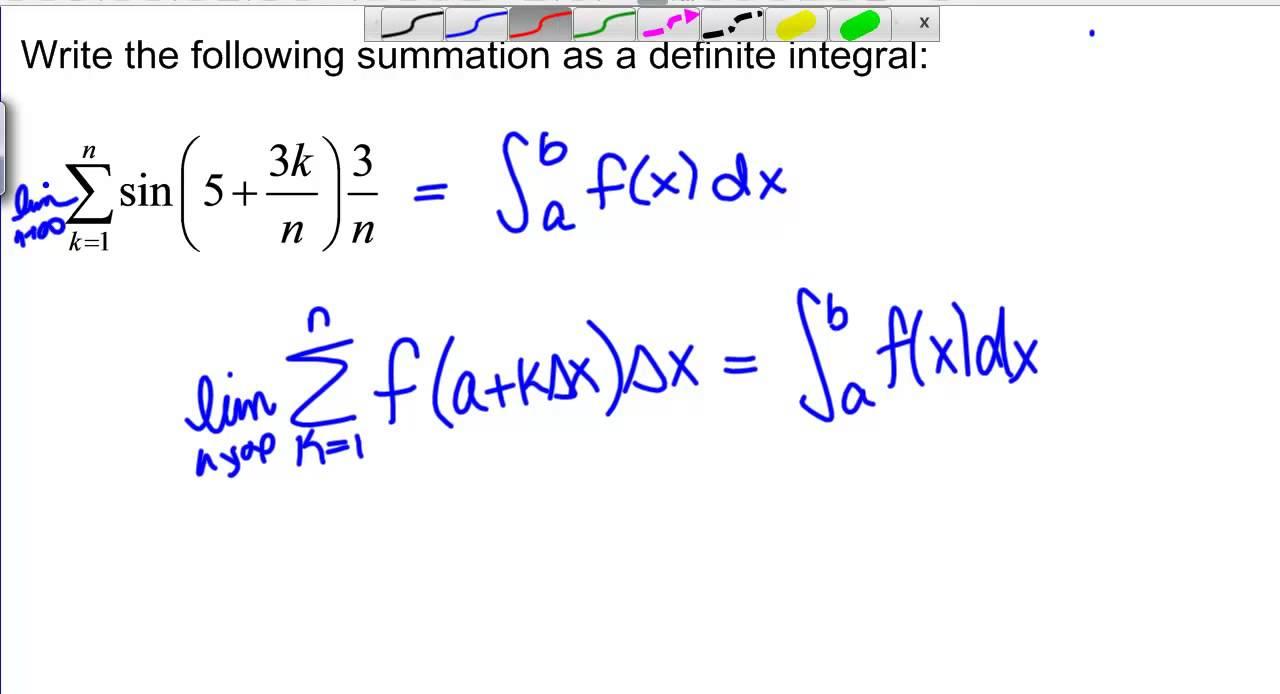Converting a Riemann Sum to a Definite Integral - YouTube