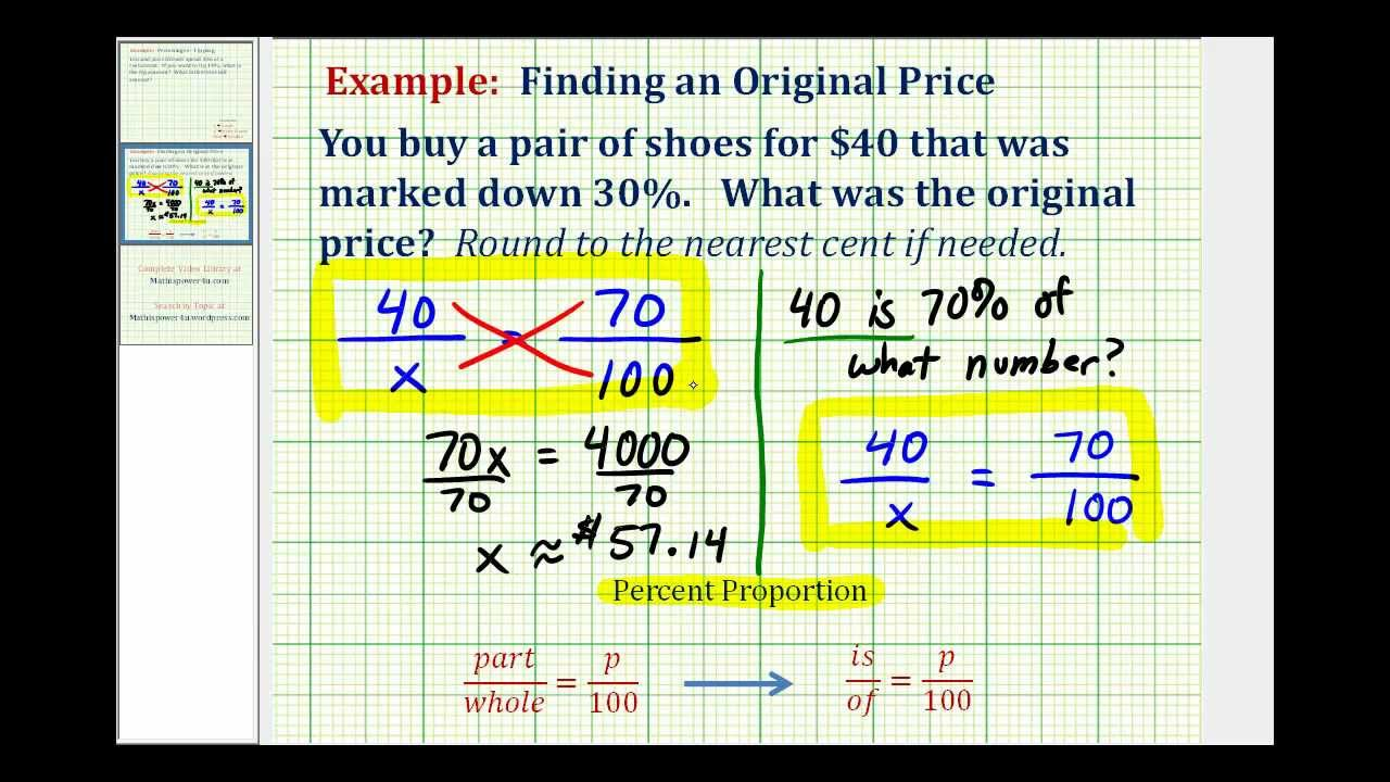 Ex: Find the Original Price Given the Discounted Price - YouTube