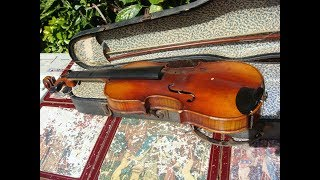 Vintage Violin With Coffin Case And Bow  For Restoration Spare Or Repair