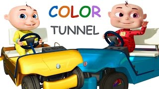 babies Driving Through The Color Tunnel | Learn Colors | Nursery Rhymes & Kids Songs | Compilation