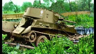 LIFTING THE COMMANDER'S TANK BT-7 FROM THE SWAMP