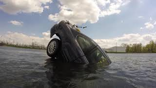 Car sinking and filling with water