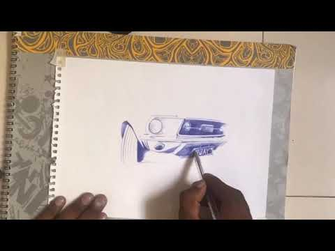 Ballpointpen drawing of car | tutorial video | quick sketch thumbnail