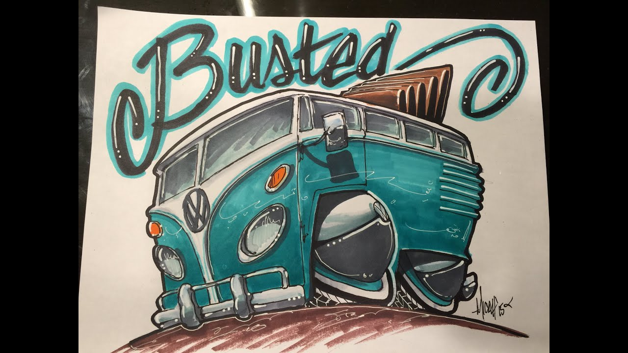 how to draw a vw bus time lapse