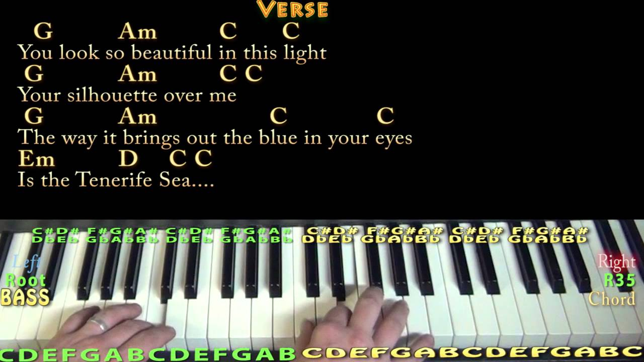Tenerife Sea Ed Sheeran Piano Cover Lesson in G with Chords/Lyrics
