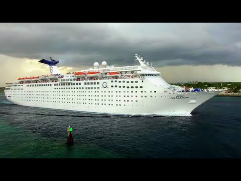Grand Celebration Cruise Ship leaving Port of Palm Beach,  Florida - 4K
