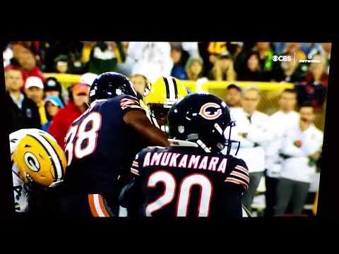 Davante Adams #17 Packers hit by Danny Trevathan  #59 Bears