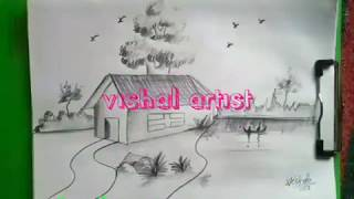 How to Draw Easy and Simple Landscape For Beginners with PENCIL 2018|| Android|| by unique star art