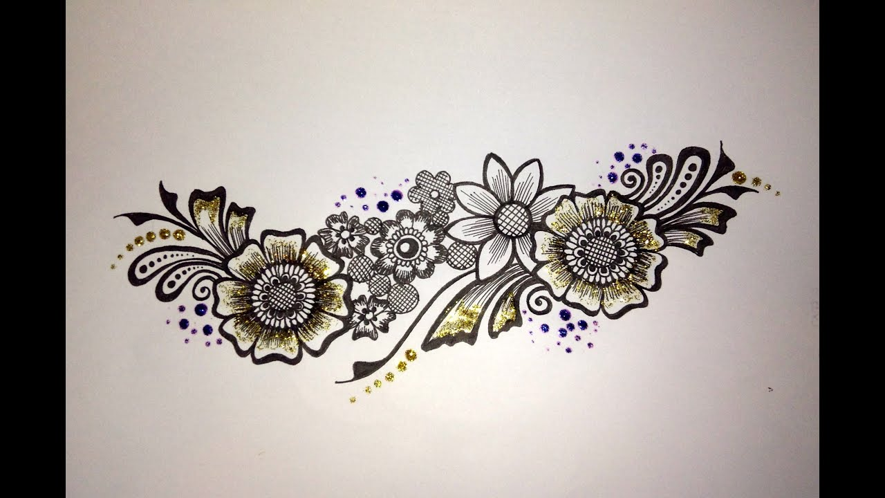 Mehndi drawing: Flower strip - YouTube