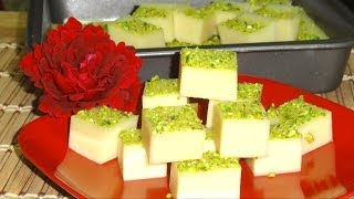 China Grass Burfi or Barfi Recipe - Milk Jello Recipe by Bhavna
