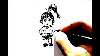 how to draw tiny girl for kids step by step very easy tutorial