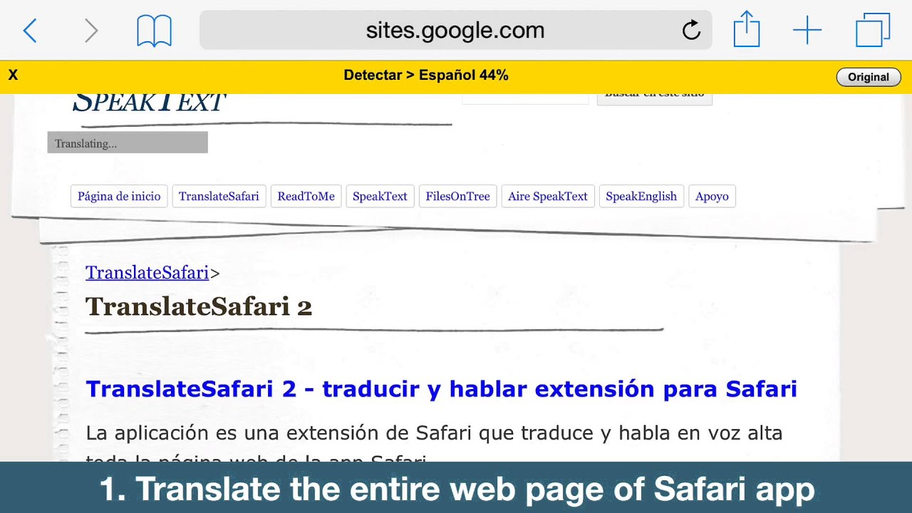 How to translate a page in safari