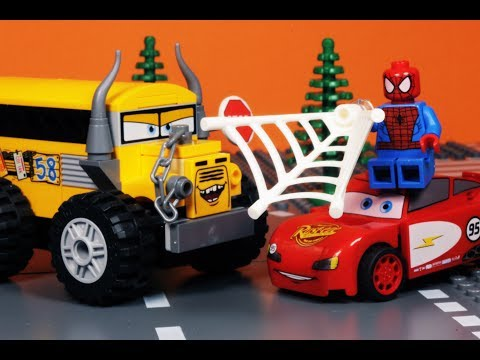 LEGO Cars 3 MOVIE Miss Fritter vs Lightning McQueen TOYS Play VIDEO GAME Spider-Man Arcade 10 min