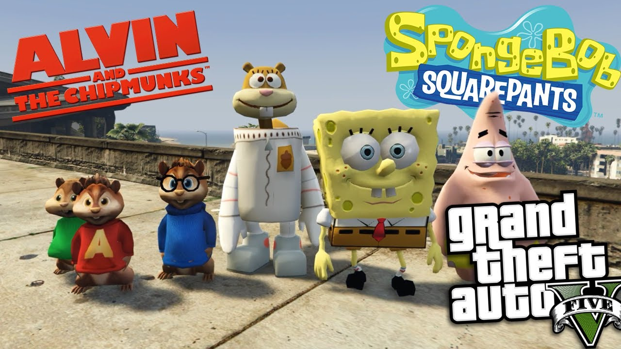 Gta  Mods Alvin And The Chipmunks Vs Spongebob Mod Gta  Mods Gameplay