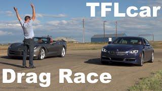 2015 Chevy Corvette vs BMW Alpina B6 xDrive Gran Coupe Drag Race: Beauty vs Brawn
