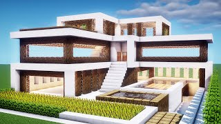 Easy Minecraft: House Tutorial - How to Build a Modern House in Minecraft #34