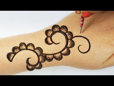 आसान तीज स्पेशल मेहँदी - सिर्फ 5 मिनिट में लगाएं सुंदर shaded मेहँदी- Back hand Mehndi for Ganpati