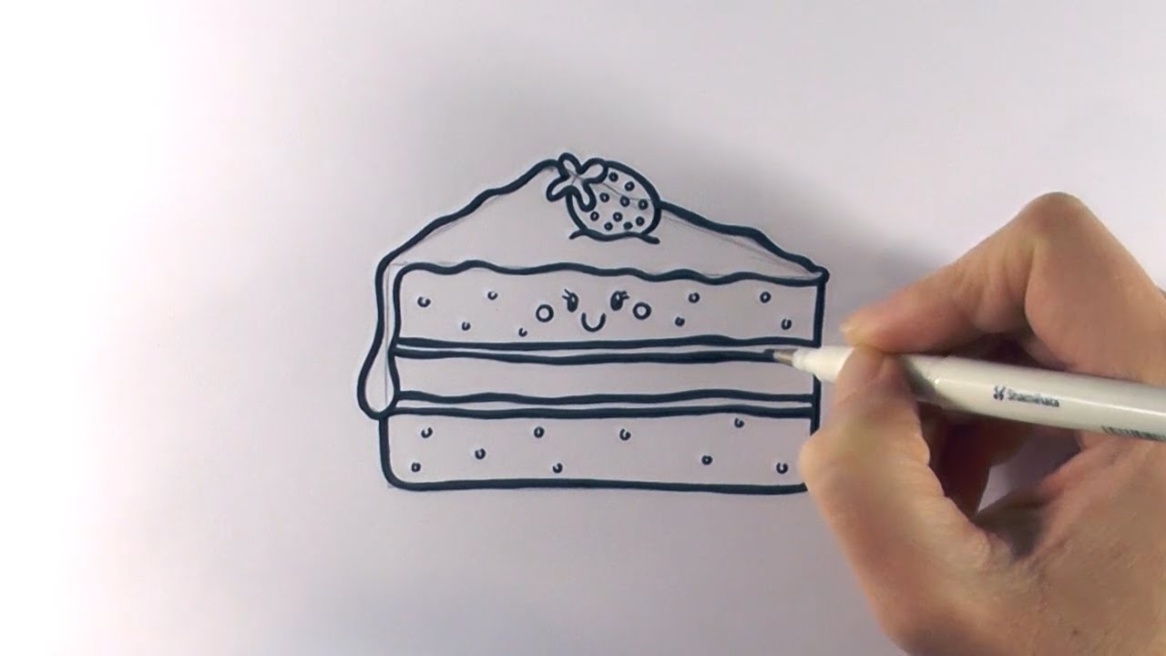 How To Draw A Cartoon Piece Of Cake Youtube