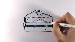 How to Draw a Cartoon Piece Of Cake