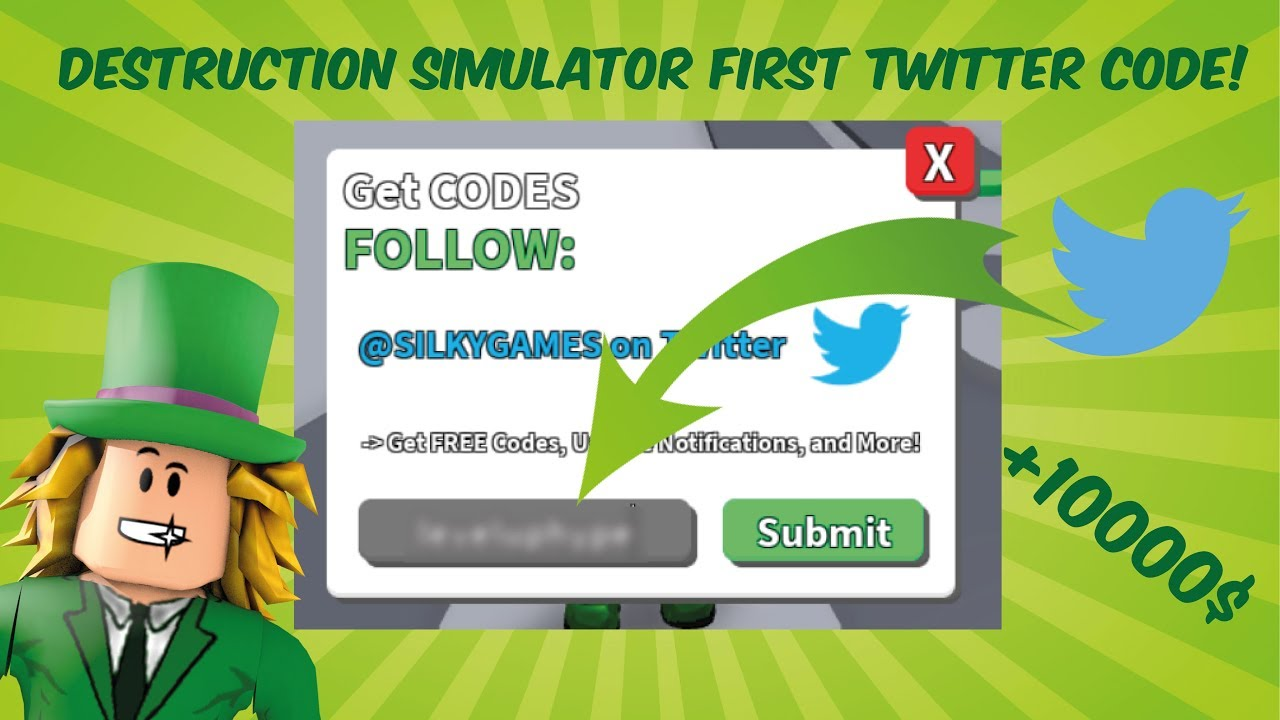 DESTRUCTION SIMULATOR TWITTER CODE! ROBLOX